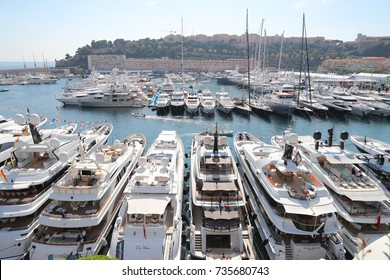 Monaco, Monte-Carlo, 27.09.2017: Largest exhibition yacht show, MYS, boats over 25 meters, the richest people from around the world, cityscape, tenders, megayacht, exhibition stands, exhibitors