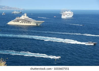 "Monaco, Monte-Carlo, 28 May 2017: Greatest personal yacht in the world ""Dilbar"" owned by businessman Alisher Usmanov and Sailing mega yacht A of Andrey Melnichenko and Italia on background"