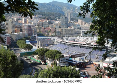 Monaco, Monte-Carlo, 28 May 2017: Port Hercule in time of carrying out race of the Grand Prix Formula 1, a lot of mega yachts, installation of tribunes, autocarts, equipment dismantling after race