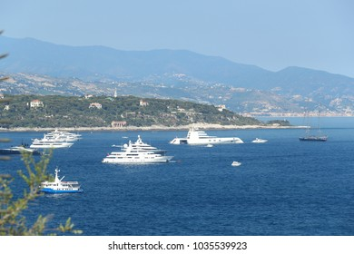 "Monaco, Monte-Carlo, 28 May 2017: Greatest personal mega yacht in the world ""A"" owned by businessman Andrey Melnichenko, other big boats and cap Martin on background"