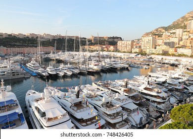 Monaco, Monte-Carlo, 28 September 2017: Morning at the largest exhibition of yachts and boats in Monaco, yachts more than 25 meters in size, with helipads and helicopters, with toys, with tenders
