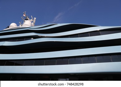 Monaco, Monte-Carlo, 28.09.2017: Exteriors elements of megayacht Jubilee by Oceanco shipyard on largest exhibition yacht show in Monaco, MYS, exterior by Lobanov design, winner of show, port Hercules