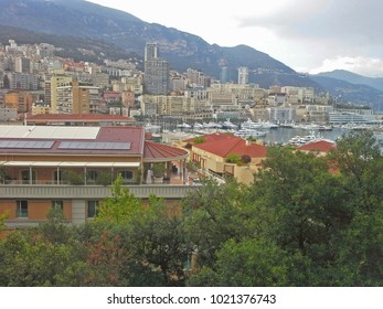 Monaco Montecarlo principality aerial view cityscape. Azure coast.
