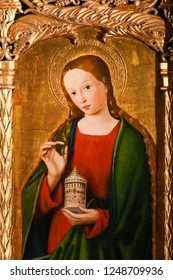 Monaco - November 13, 2018: Painting of Mary Magdalene on the Altarpiece of St Nicolas (1500) in the Cathedral of Monaco
