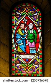 Monaco - November 13, 2018: Stained Glass in the Cathedral of Monaco depicting Moses and Aaron