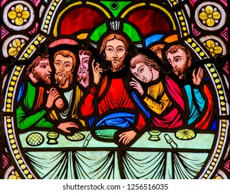 Monaco - November 13, 2018: Stained Glass in the Cathedral of Monaco, depicting Jesus and the Apostles at the Last Supper on Maundy Thursday