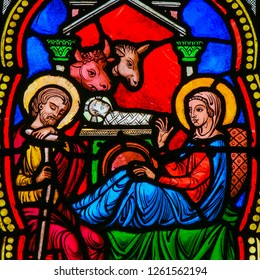 Monaco - November 13, 2018: Stained Glass in the Cathedral of Monaco depicting a Nativity Scene at Christmas