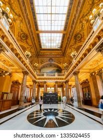 Monaco, OCT 21: Interior view of the famous Casino Monte-Carlo on OCT 21, 2018 at Monco