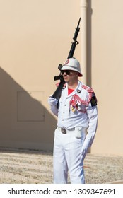 MONACO - OCTOBER 22, 2017: Guard on duty in front of the Princes' Palace, the official residence of the Prince of Monaco