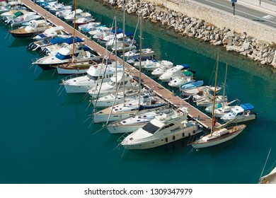MONACO - OCTOBER 22, 2017: High angle view on port de fontvieille. The aria was developed by an Italian architect, Manfredi Nicoletti, between the 1970s and the 1990s.