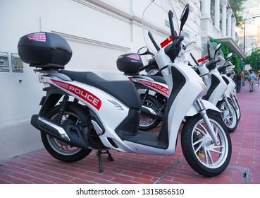 MONACO - OCTOBER 22, 2017: Honda motor bikes of the Monaco police standing in front of the police station