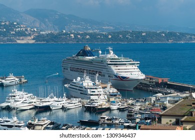 MONACO - OCTOBER 22, 2017: Large cruise liner in port Hercules, the only deep-water port of the city