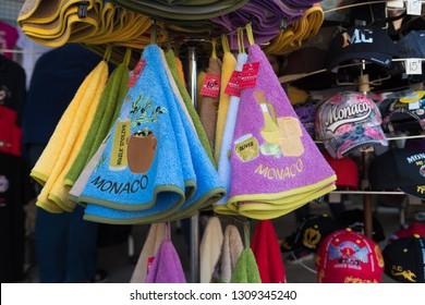 MONACO - OCTOBER 22, 2017: Souvenir shop at the Place du Palais, the most touristic hot spot in the city