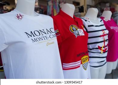 MONACO - OCTOBER 22, 2017: Souvenir shop with t-shirts at the Place du Palais, the most touristic hot spot in the city