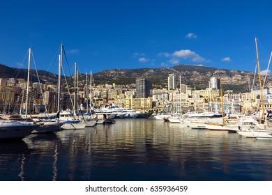 Monaco Port Hercule view of yachts from water's edge