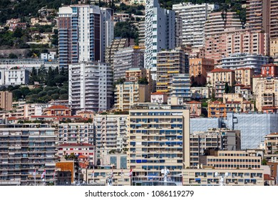 Monaco principality, densely populated urban background with apartment buildings, towers, block of flats