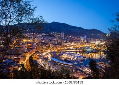 Monaco principality in the evening, cityscape at the Mediterranean Sea coast, Europe