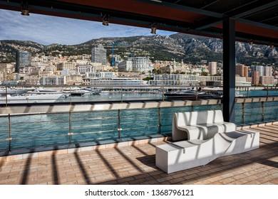 Monaco principality from seaside promenade, Mediterranean Sea coast, Europe