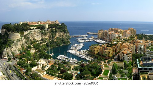 Monaco, the Rocher and Fontvieille district