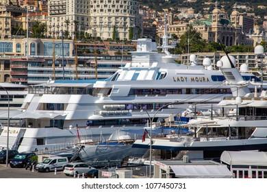 Monaco, Monaco - September 23, 2013: Port of Monaco. Yachts and ships in the Monaco port