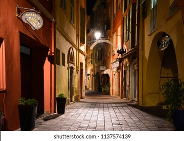 Monaco / Monaco — September 25, 2016: a street in the old town of Monaco Ville at night