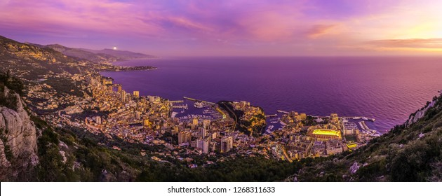 Monaco sky view at sunset