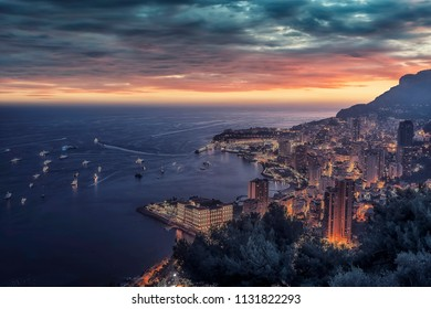 Monaco at sunset on the French Riviera