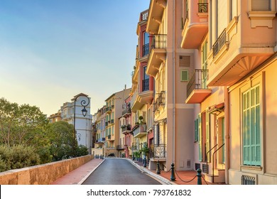 Monaco Ville colorful building architecture sunrise city skyline, Monte Carlo, Monaco