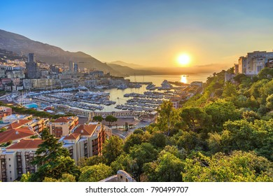 Monaco Ville Harbour sunrise city skyline, Monte Carlo, Monaco