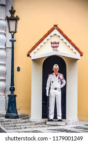 Monaco Ville, Monaco - October 13, 2013: Guard on duty at the post in front of the Prince's Palace on Palace Square