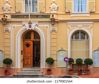 Monaco Ville, Monaco - October 13, 2013: Facade of the town hall or mairie building in barroco style