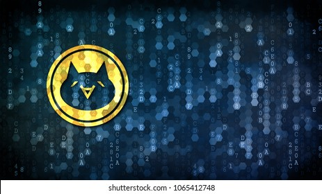 Monacoin Blockchain Cryptocurrency. Yellow Icon on Dark Digital Background with Empty Copyspace for Your Web Design.