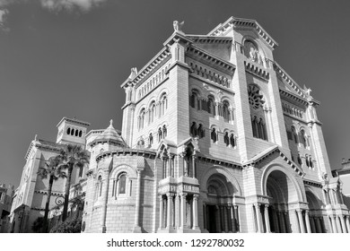 Monaco-Ville / Monaco - 31.08.2018: Cathédrale Notre-Dame-Immaculée / Cathedral of Our Lady Immaculate (black and white)