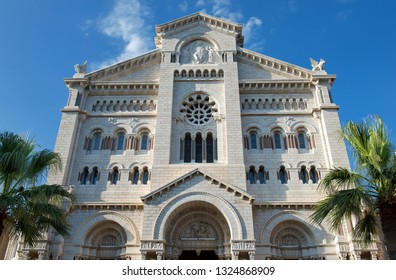 Monaco-Ville / Monaco - 31.08.2018: Cathédrale Notre-Dame-Immaculée / Cathedral of Our Lady Immaculate