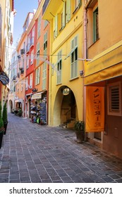 MONACO-VILLE, MONACO - JULY 11: Narrow street with houses on July 11, 2015 in Monaco-Ville, Monaco. Monaco-Ville is one of the four traditional quarters of Monaco.
