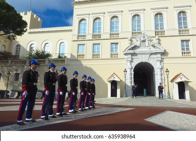 Monaco-Ville, Monaco - November 16, 2016: The changing of the guard at the Prince's Palace of Monaco.