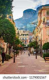 Monaco-Ville, Monaco - October 12, 2013: Pedestrian Street Rue Princess Caroline, full of cafes and restaurants