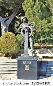 Monaco-Ville, Monaco - October 25th 2018: A statue of Prince Albert I by French sculptor François Cogné, in St Martin Gardens.