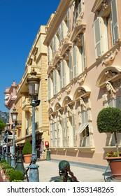 Monaco-Ville / Principality of Monaco - 31.08.2018: Historic architecture around the Princely Palace (Place du palais)