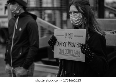 Monaghan, County Monaghan / Ireland - June 6 2020: A peaceful Black Lives Matter protest was held in McNally's Carpark on the 6th of June 2020. Direct Provision as protested against as well.