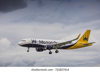 Monarch Airlines Airbus A320 G-ZBAS on approach to land on August 19th 2017 at London Luton Airport, Bedfordshire, UK