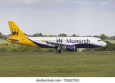 Monarch Airlines Airbus A320 G-ZBAT taxiing on May 21 2017 at London Luton Airport, Bedfordshire, UK