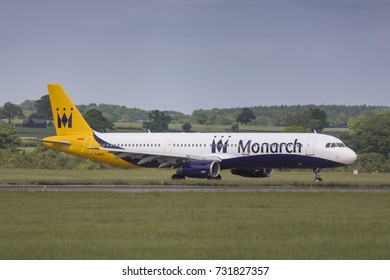 Monarch Airlines Airbus A321 G-MARA taxiing on May 21 2017 at London Luton Airport, Bedfordshire, UK