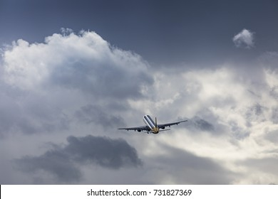 Monarch Airlines Airbus A321 G-MARA taking off on August 18 2017 at London Luton Airport, Bedfordshire, UK