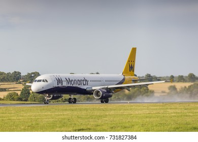 Monarch Airlines Airbus A321 G-OZBM taking off on August 18th 2017 at London Luton Airport, Bedfordshire, UK