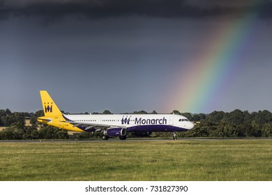 Monarch Airlines Airbus A321 G-OZBM taxiing on August 18th 2017 at London Luton Airport, Bedfordshire, UK