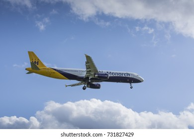 Monarch Airlines Airbus A321 G-ZBAL on approach to land on March 31 2017 at London Luton Airport, Bedfordshire, UK