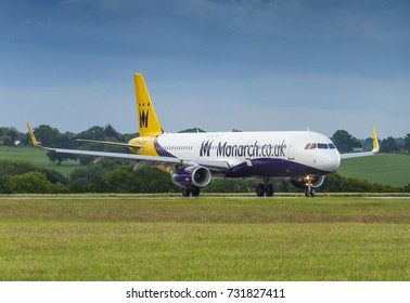 Monarch Airlines Airbus A321 taxiing on June 15 2016 at London Luton Airport, Bedfordshire, UK