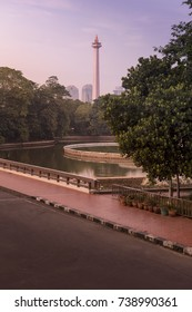 Monas (The National Monument) seen from Istiqlal Mosque in the morning.