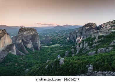 monasteries of Meteora valley in sunrise